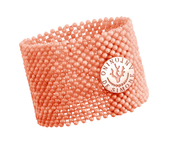 Bracciale tessito corallo rosa del Pacifico e bottone argento rosato