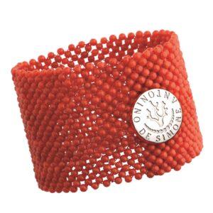 Bracciale tessito corallo rosso del Mediterraneo e bottone argento bianco