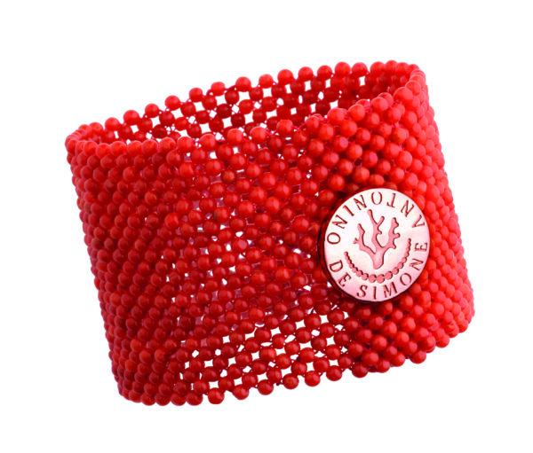Bracciale tessito corallo rosso del Mediterraneo e bottone argento rosa