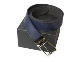 Cintura uomo blue con fibbia reversibile color Nikel