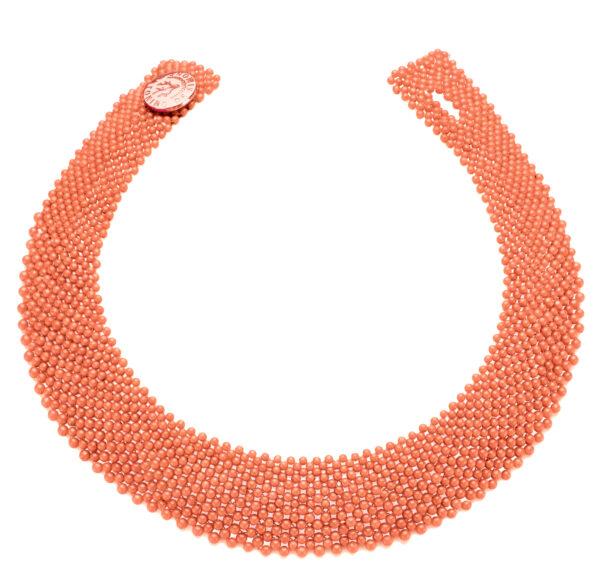 Collier corallo rosa bottone argento