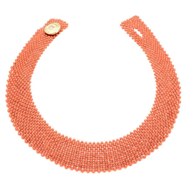 Collier corallo rosa bottone argento dorato