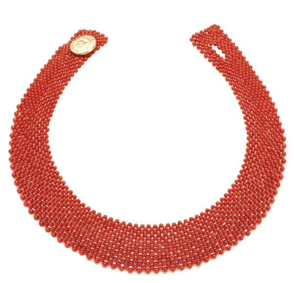 Collier corallo rosso bottone argento dorato