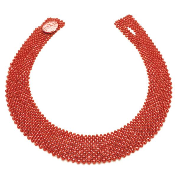 Collier corallo rosso bottone argento rosa