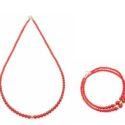 Set Collana e bracciale con sfere di corallo rosso ed oro