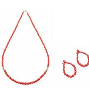 collana sfere laterali e orecchini